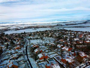 Inspecciones técnicas aéreas con drone: Madrid Noroeste nevado en enero de 2021.