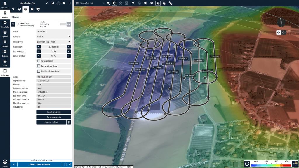 Planificando la elevación de una misión con eMotion, la App de vuelo de SenseFly.