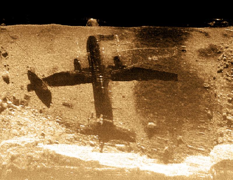 Avión en el fondo marino visto por un Sonar multihaz.