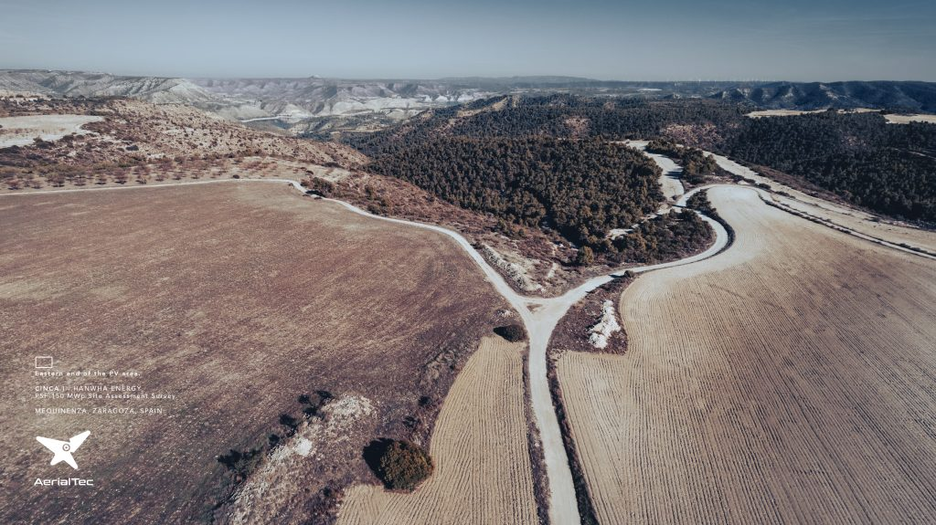 Cinca 1. Hanwha Energy. Prospección Site Assessment para implantación de PSF 150MWp. Mequinenza, Zaragoza, España © AerialTec 2021.