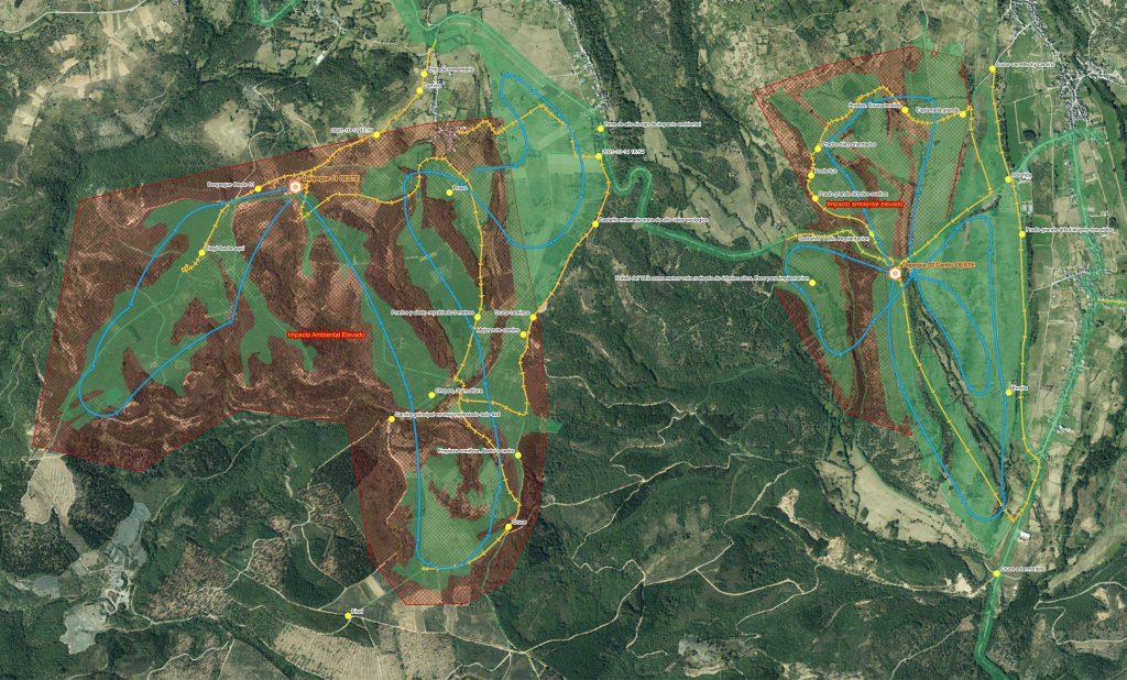 Mapa de vuelos para prospección Site Assessment PV Bergidum 1. 200MWp. Bembibre, León. Spain