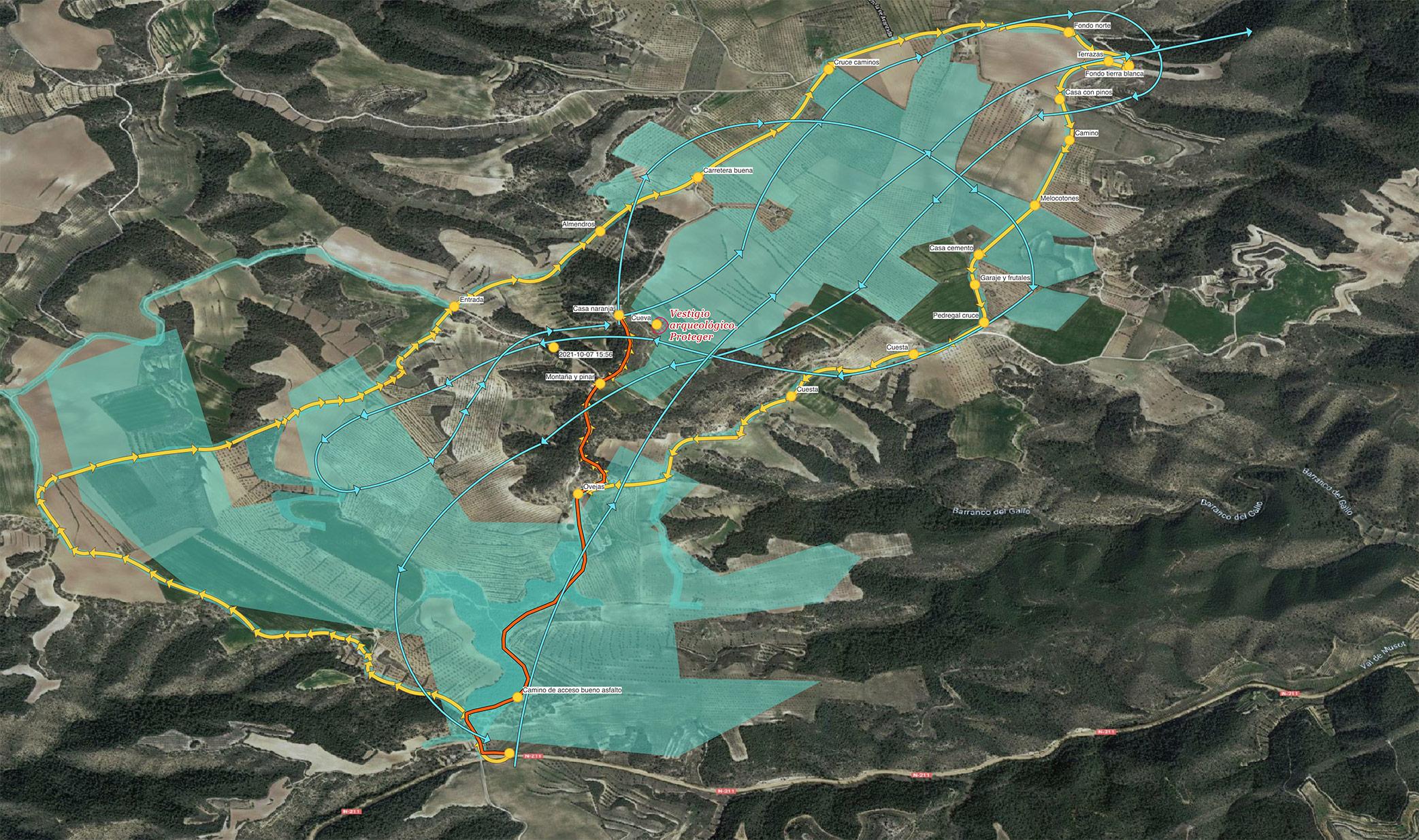 Mapa QGIS para programar la inspección al campo PV Cinca 1. Zaragoza. © AerialTec, Octubre 2021.