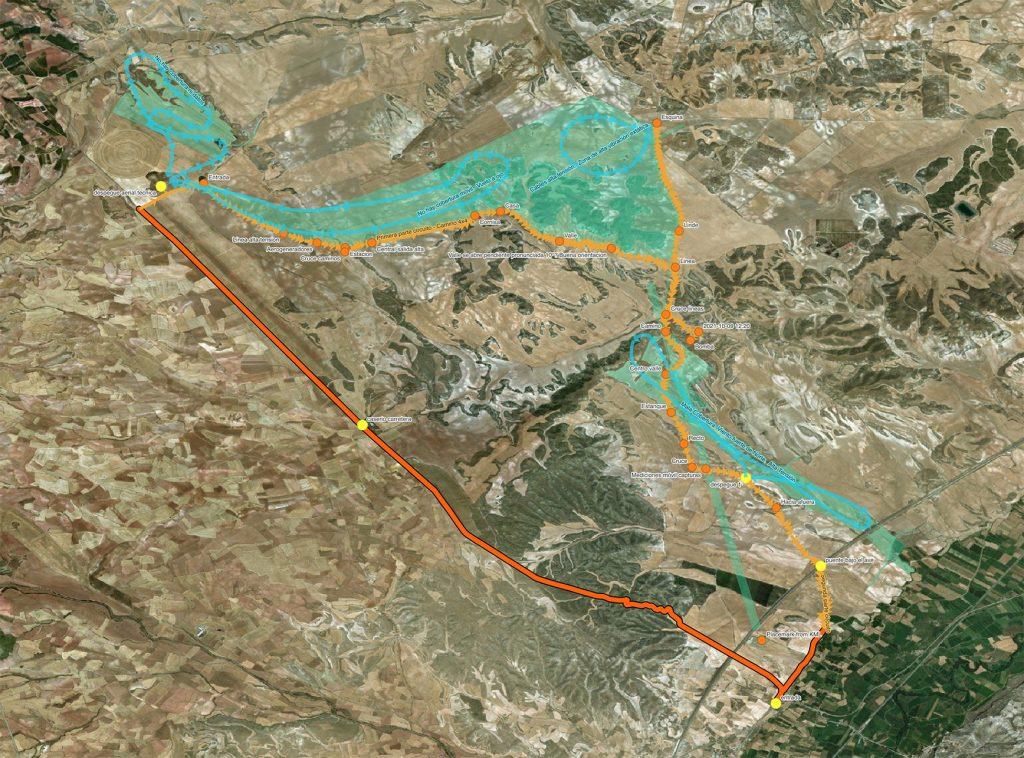 Mapa de vuelos para prospección Site Assessment PV Valdejalón IV. 125MWp. Lumpiaque, Zaragoza. Spain